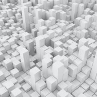 3D render of an abstract background with white extruding cubes